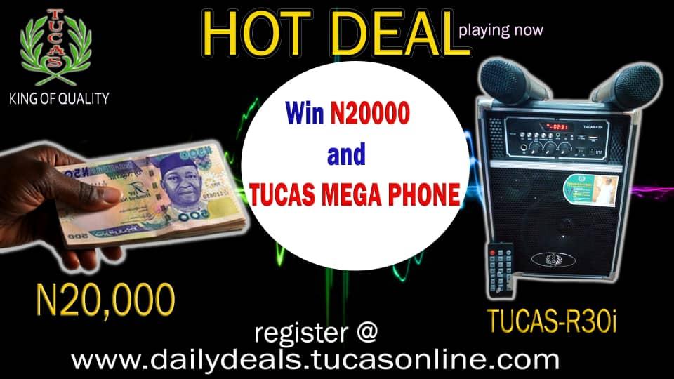 R30i Tucas multi functional megaphone + 20,000 naira cash. (worth 45,000)